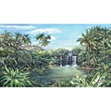 York Wallcoverings RoomMates Tropical Lagoon Chair Rail Prepasted Mural 6' x 10.5' - Ultra-strippab,