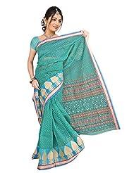 DesiButik's Blue Banarasi Net Saree With Blouse - B00TUZ5HL8