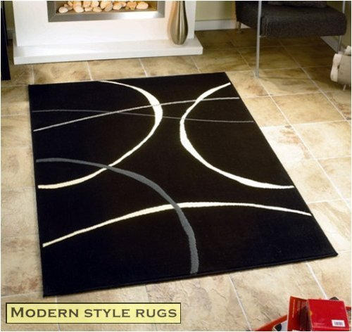 Contemporary Cheap Modern Retro Black Cream Rugs 3 SIZES AVAILABLE, 160x225cm (5ft 6''x 7ft 6'')