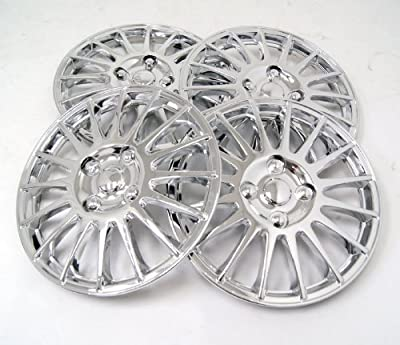 TuningPros WSC-611C15 Chrome Hubcaps Wheel Skin Cover 15-Inches Silver Set of 4