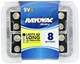 Rayovac Alkaline Reclosable Pro Pack 9V Batteries, 8-Pack
