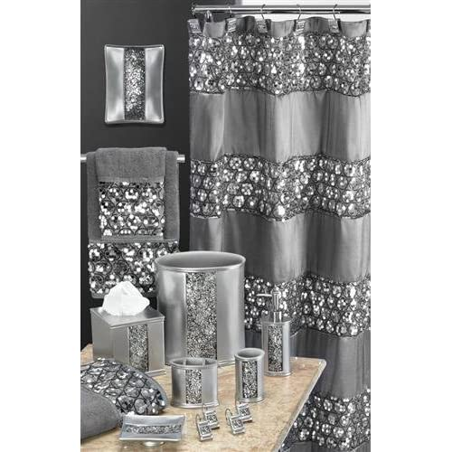 Sinatra silver glitter waste basket set for Grey silver bathroom accessories