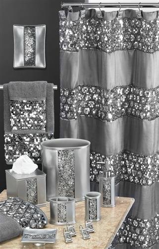 New sinatra silver special bathroom total set curtain for Bathroom accessories with bling