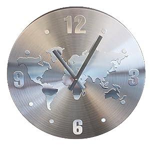 Orologio Da Parete Con Mappamondo Diametro 39 Cm Alluminio Design Moderno Casa E Cucina