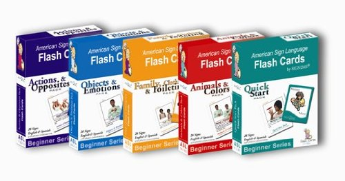 Sign2Me ASL Laminated Flashcards Beginners Series Complete 5 Pack Set Incl ASL English Spanish American Sign Language Flash Cards Beginner English and Spanish Edition