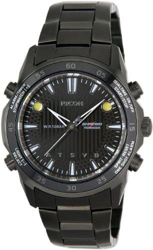 Ricoh Men'S Watch Shrewd Reminder Inductive Charge Analogue Vibration Alarm Chronograph Led Blackblack 660001-92