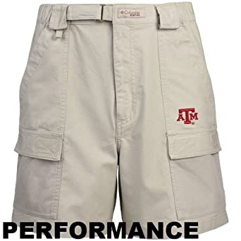 Columbia Texas A&M Aggies Khaki Half Moon Performance Shorts (Small)