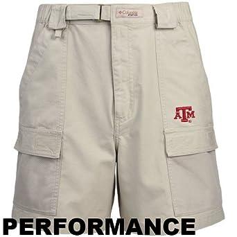 Columbia Texas A&M Aggies Khaki Half Moon Performance Shorts (Small)
