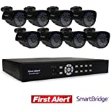 First Alert SmartBridge DVR Video Security System, 8-Channel and 8 Night Vision 560-TVL Cameras (DCA8810-560BB)