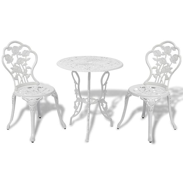 vidaXL Set bistro 3 pz tavolo e sedie in alluminio fuso bianco