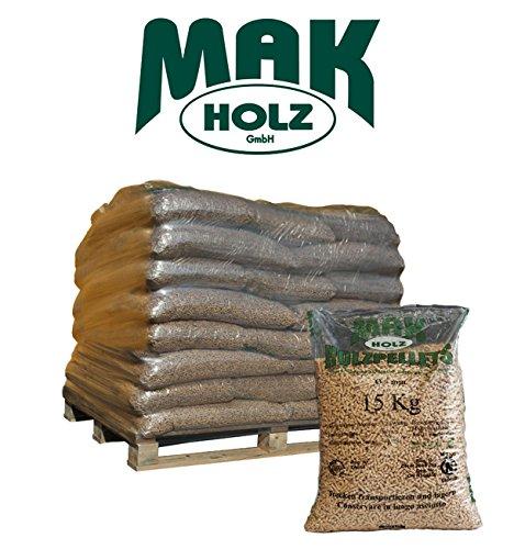 Bancale 25 sacchi pellet Mak Holz chiaro abete 100% bianco alta qualità EN PLUS