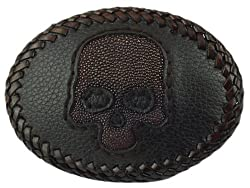 Leather Belt Buckle, Brown w/ Brown Stingray Skull Inlay - Fits 1 1/2