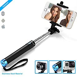 ZAAP® (USA)NUSTAR2 Bluetooth Super-Extendable Premium Stainless steel Selfie Stick with In-built Remote Shutter | 2000+ clicks per charge | For iPhone, Andriod, Gopro & other Smartphones