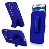 BoxWave Dual+ Holster Galaxy S4 Case - 3-in-1 Case with Holster Combo Includes Protective Case and Belt Clip Holster with Integrated Viewing Stand (Super Blue)