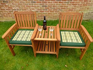Uk gardens heavy duty wooden garden love seat bench with for Garden love seat uk