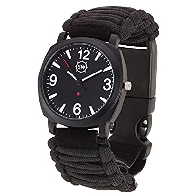 Survival Watch - Paracord Survival Gear / Adjustable Paracord Watch with Fire Starter, Whistle, Compass - Water Proof - Best Survival Gear - 4 Colors