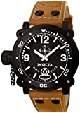 Invicta 7274 Mens Stainless Steel Lefty Russian DIver Black Dial Brown Strap