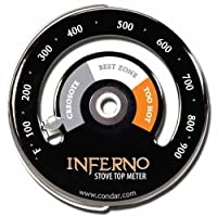 Inferno Stove Top Meter 3-30 Thermometer Calibrated To Measure Temperatures On Stove Top Rich Black Porcelain Enamel Stylish Design Featuring Gray White And Orange Recommended Burn-temperature Zones Helps You Conserve Wood And Avoid Excess Creosote by Con