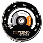 Inferno Stove Top Meter (3-30) thermometer calibrated to measure temperatures on stove top. Rich black porcelain enamel. Stylish new design featuring gray