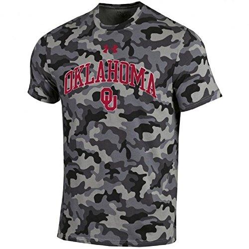 Under Armour NCAA Adult Short Sleeve Charged Cotton Grey Camouflage Performance Tee-Oklahoma Sooners-Medium