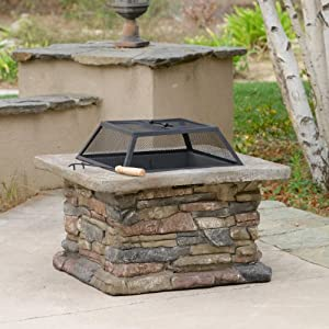 Tundra natural stone fire pit patio lawn for Amazon prime fire pit
