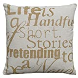 123 Creations All Natural Linen Sayings Pillow, Life is a Handful of Short Story
