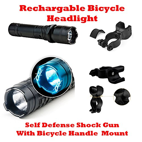 Rechargeable Bicycle Headlight Self Defense Stun Gun with Flashlight Torch + clip 360° rotating Holder Clip Mount Hero Bicycle Cycles