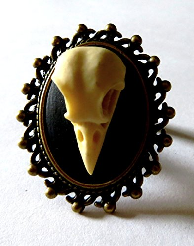 Anello gotico cammeo 25X18mm teschio corvo gothic horror poe raven skull cameo ring halloween