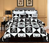 """7 Pieces Black and White Pirate Skull and Bone Comforter (82""""x86"""" in Inch)  ...."""