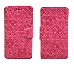 J Cover Vachetta Series Leather Pouch Flip Case With Silicon Holder For Spice Stellar Pinnacle Mi-530 Pink
