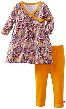 Zutano Baby-Girls Infant Peacock Long Sleeve Dress With Legging Set, Multi, 6M