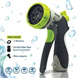 Hidro2O High Pressure Spray Nozzle, Ideal for Gardening, Watering Plants and Lawns, Dogs and Pet Cleaning, 8 Pattern Hose Made of Heavy Duty Metal - Includes Extra Washers and Quick Release Connectors