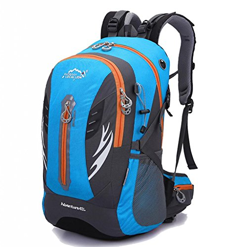 Zerd 30L Waterproof Nylon Mountaineering Camping Travel Backpack Trekking Bag Light Blue front-268795