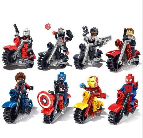 8pcs/set The Avengers Super Heroes Motorcycle Action Figures Building Toy Captain America Ironman spiderman Superman Model Toys