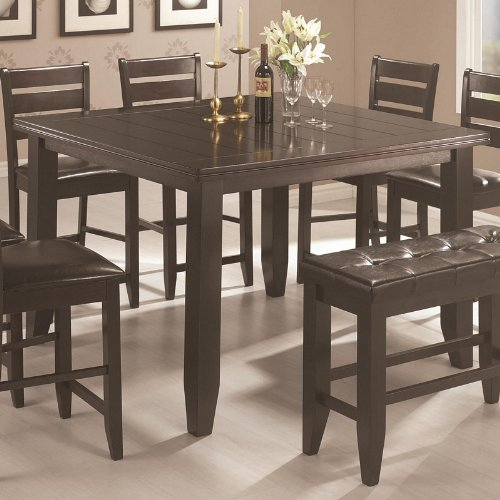 Counter Height Dining Table With Block Legs In Cappuccino Finish