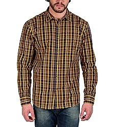 Enryca Men's Casual Shirt(ENMSH 0098YELLOW -XL_Yellow_44)