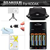 Advanced Accessory Kit For Kodak EasyShare Z981 14MP Digital Camera Includes + 4 AA High Capacity Rechargeable NIMH Batteries And Rapid Charger + Case + LCD Screen Protectors + More