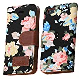 OOOUSE Flower and Deluxe Book Style Folio PU Leather Wallet with Magnet Design Flip Case Cover, Credit Card Holder for iPhone 5 / 5S (Black)