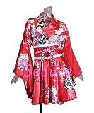 ドレス着物ドレスミニドレスフレアー型セクシーミニ浴衣としても!Aラインイベントコスプレダンス祭ヨサコイソーランショーホワイトピンクブラックレッドブルーSeduce20070729 (レッド)