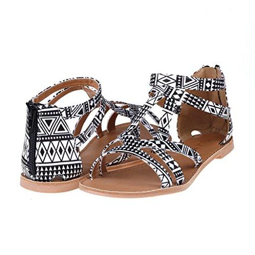 Black Friday Sales,DREAM PAIRS Women's Summer Trendy Print Gladiator Flat Sandals