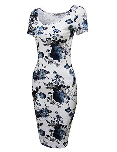 Tom's Ware Women's Floral Short Sleeve Midi Dress TWCWD053-WHITEBLUE-US L