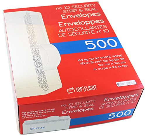 Top Flight PSTF10NWT #10 Envelopes, Strip & Seal, Security Tinted, White Paper, 24 lb, 500 Count (Envelope Self Seal 500 compare prices)