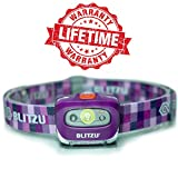 Brightest LED Headlamp - with Red Light - Blitzu i2 Headlight Flashlight for Kids, Men, and Women. Waterproof. Perfect Head Light For Running, Walking, Reading, Camping, Home Projects and Emergency PURPLE