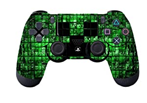 Leather Texture Surface Designer Skin Sticker for Playstation 4 Remote Controller - Green Digicamo