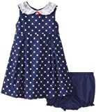 Laura Ashley London Baby-Girls Infant Blue Dotted Peter Pan Collar Dress