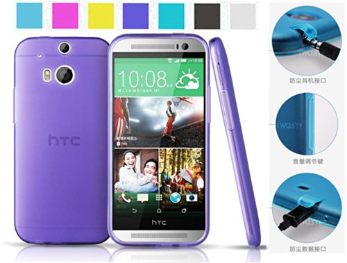 Koppu@ Htc One 2 M8 All New One Case (Inbuilt Dust Plug For Earphone Jack And Charging Port) Slim Fit Semitransparent Tpu Frosted Soft Phone Cover Case (Purple)