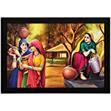 PPD Village Scenery Painting For Home And Office. (14 Inch X 20 Inch Framed)