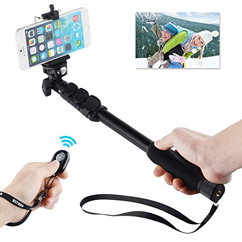 kootek telescopic handheld monopod selfie stick pole with bluetooth remote shutter button for. Black Bedroom Furniture Sets. Home Design Ideas