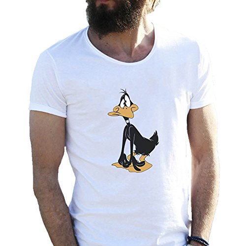 daffy-duck-confussed-weisse-herren-t-shirt-x-large