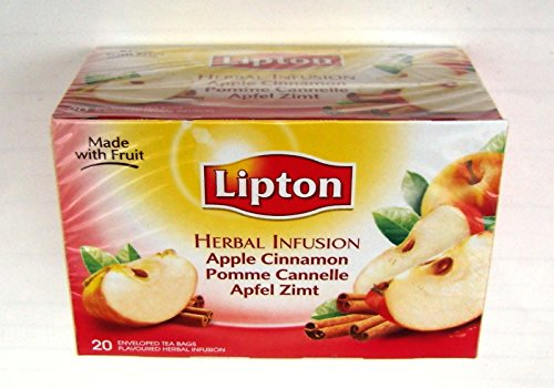 Lipton Premium Tea Bags - Apple Cinnamon Herbal Infusion - 20 Count Box (Pack 8 Boxes = 160 Count)
